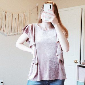 ON THE ROAD Pink Crushed Velvet Ruffle Blouse M